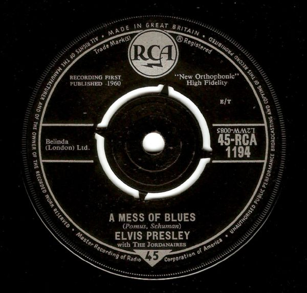 ELVIS PRESLEY A Mess Of Blues Vinyl Record 7 Inch RCA 1960